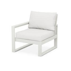 Polywood Furnishings - EDGE Modular Left Arm Chair in Vintage White / Natural Linen