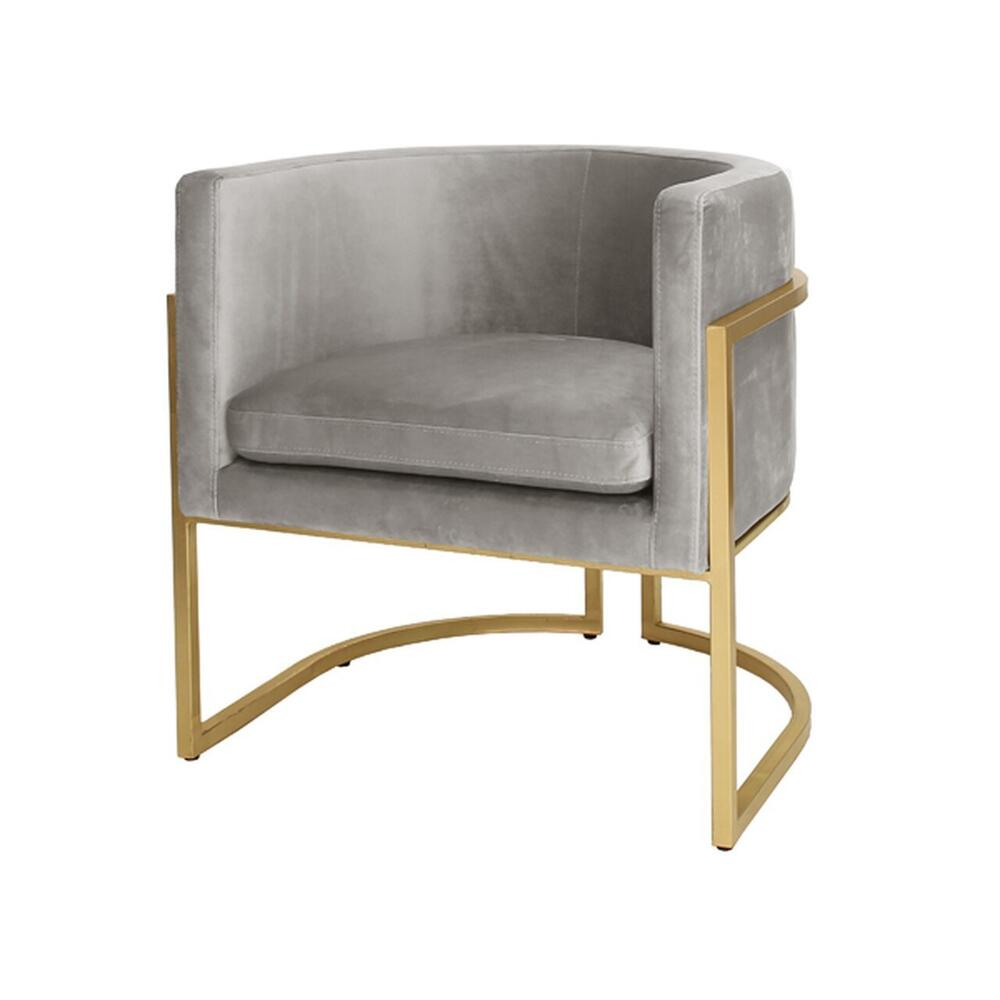This Mid-century Modern, Barrel-back Arm Chair Dazzles From Every Angle. arcing Metal Frame Is Artfully Finished In Gold Leaf, and Luxurious, Grey-colored Velvet Upholstery Beckons Your Guests To Sit and Stay Awhile. Perfect for the Dining Room, or Pair as Occasional Chairs In Your Keeping Room. Jenna Is A Charmer In Any SETTING.