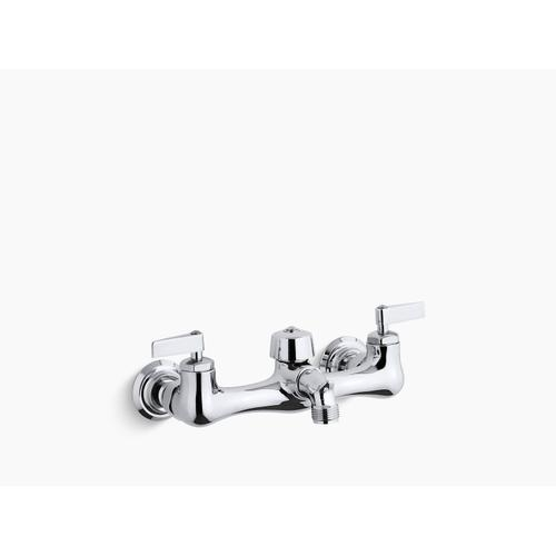 """Polished Chrome Double Lever Handle Service Sink Faucet With 2-1/4"""" Vacuum Breaker Threaded Spout"""