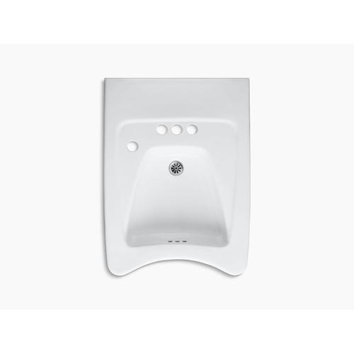 """White Concealed Carrier Arm Mounted Wheelchair Commercial Bathroom Sink With 4"""" Centerset Faucet Holes and Left-hand Soap Dispenser Hole"""