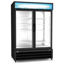 Refrigeration Equipment Merchandiser Freezer, 49 cu.ft, 2 Glass Door, black (R290)