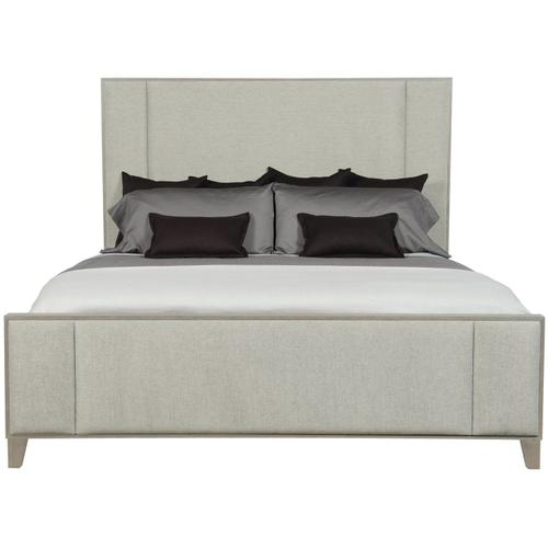 Queen Linea Upholstered Panel Bed in Cerused Greige (384)