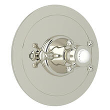 Georgian Era Round Thermostatic Trim Plate without Volume Control - Polished Nickel with Cross Handle