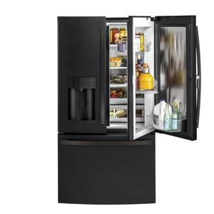 GE® 27.7 Cu. Ft. French-Door Refrigerator with Door In Door - FINGERPRINT RESISTANT BLACK SLATE