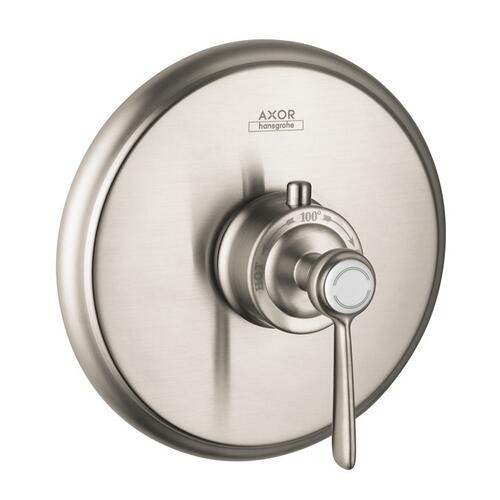 Brushed Nickel Thermostat HighFlow for concealed installation with lever handle