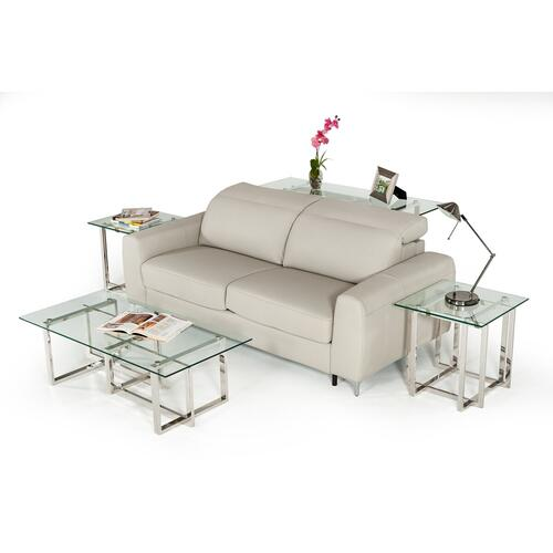 VIG Furniture - Estro Salotti Tourquois Italian Modern Light Grey Leather Sofa Bed