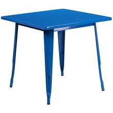 31.5'' Square Blue Metal Indoor-Outdoor Table
