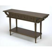 See Details - This spacious console table combines vintage styling and abundant function. Crafted from rubberwood solids, wood products and ash veneers, it boasts a rich Coffee finish, two storage drawers with antique brass finished pulls, and an expansive bottom display shelf.