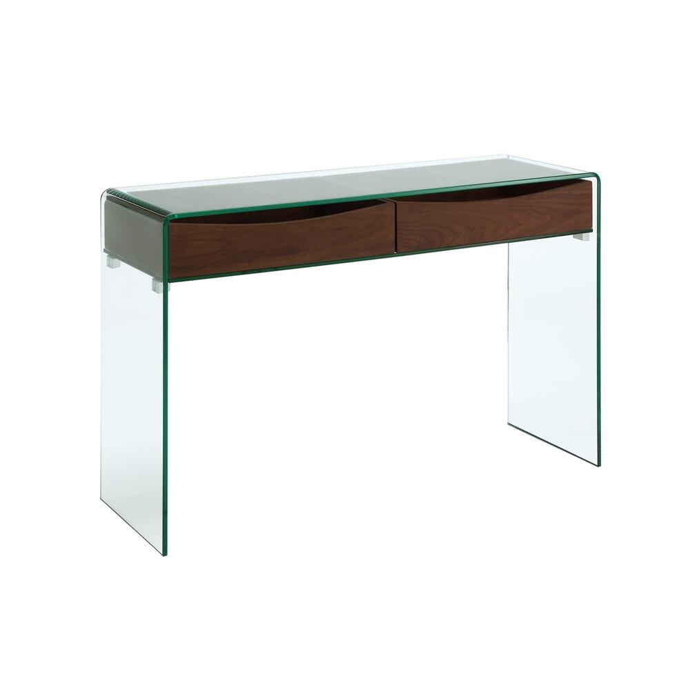 The Ibiza Console Table In Walnut Veneer With Clear Glass