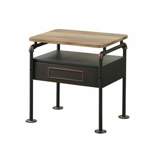 ACME Nicipolis Nightstand - 30737 - Antique Oak & Sandy Gray