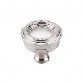 Beaded Knob 1 5/16 Inch - Brushed Satin Nickel
