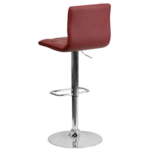 Contemporary Tufted Burgundy Vinyl Adjustable Height Barstool with Chrome Base
