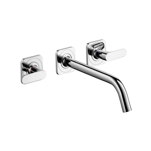 Brushed Nickel 3-hole basin mixer for concealed installation wall-mounted with spout 226 mm, lever handles and escutcheons
