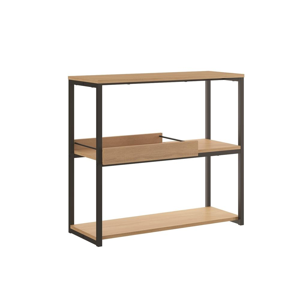 The Noa Bookcase Part Of Our Kd Collection In Birch Melamine With Black Metal Painted And Removable Tray.