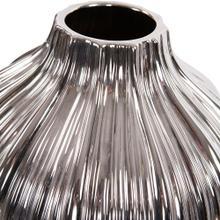 View Product - Metallic Silver Ribbed Ceramic Globe Vase