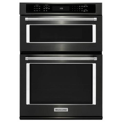 """KitchenAid - 27"""" Combination Wall Oven with Even-Heat™ True Convection (lower oven) - Black Stainless Steel with PrintShield™ Finish"""