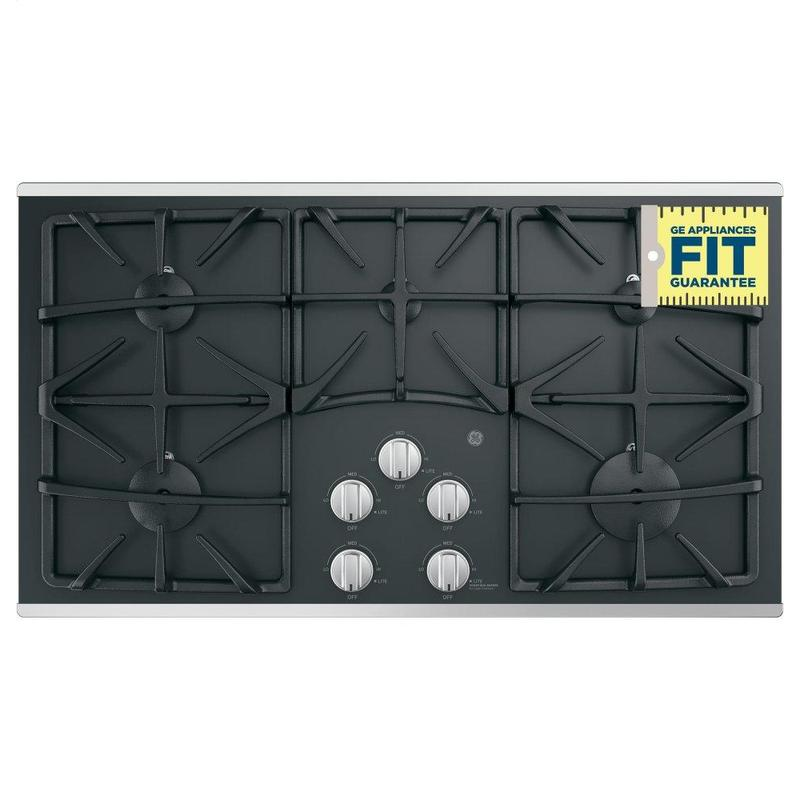 """GE® 36"""" Built-In Gas on Glass Cooktop with 5 Burners and Dishwasher Safe Grates"""