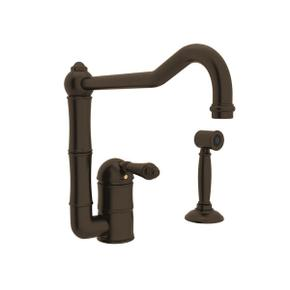 Acqui Single Hole Column Spout Kitchen Faucet with Sidespray and Extended Spout - Tuscan Brass with Metal Lever Handle
