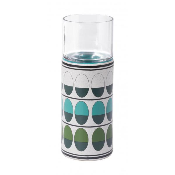 Medium Retro Candle Holder Green & Teal