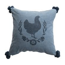 "See Details - 18"" Square Cotton Slub Pillow with Chicken & Pom Poms, Blue"
