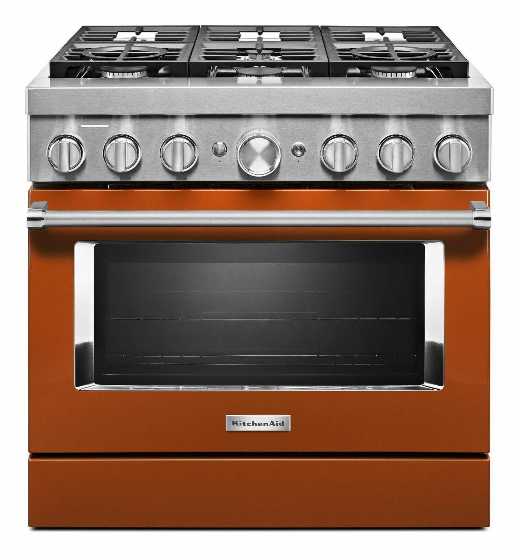 KitchenaidKitchenaid® 36'' Smart Commercial-Style Dual Fuel Range With 6 Burners - Scorched Orange