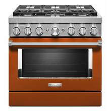 View Product - KitchenAid® 36'' Smart Commercial-Style Dual Fuel Range with 6 Burners - Scorched Orange
