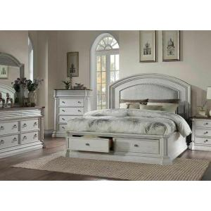ACME York Shire Eastern King Bed (Storage) - 28267EK - Country-Cottage, Provincial - Fabric, Wood (Poplar), Wood Veneer (Hickory), MDF, PB, Foam - Fabric and Antique White