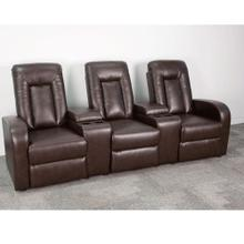 3-Seat Reclining Brown Leather Theater Seating Unit with Cup Holders