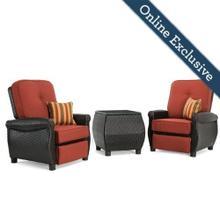 See Details - Breckenridge 3pc Patio Furniture Set w/ Brick Red Cushion