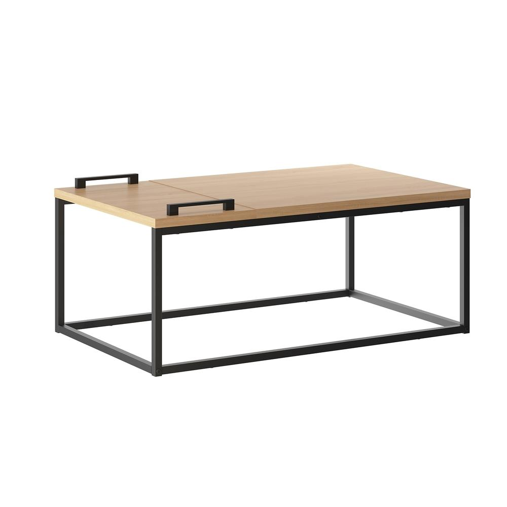 The Noa Cocktail Table Part Of Our Kd Collection In Birch Melamine With Black Metal Painted Frame And Removable Tray.