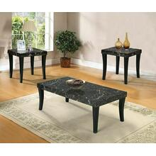 ACME Gale 3Pc Pack Coffee/End Table Set - 80366 - Black Faux Marble