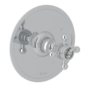 Polished Chrome Italian Bath Pressure Balance Trim Without Diverter with Crystal Cross Handle Product Image