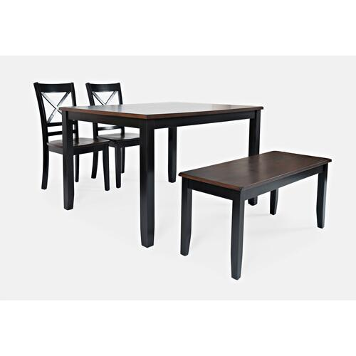 Jofran - Asbury Park Table With 2 Chairs & Bench Black /autumn
