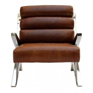 Vintage Leather Chair- Stainless Steel