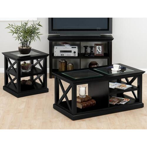 Cocktail Table W/ X Sides, Shelf, Open Space and Casters