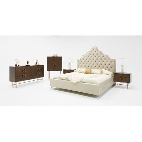 VIG Furniture - Modrest Selena Modern Acacia & Brass Nightstand