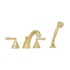 Palladian 4-Hole Deck Mount Tub Filler with Handshower - Satin Unlacquered Brass with Metal Lever Handle