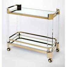 Make a statement to all with the cutting-edge contemporary designs of the functional and beautiful serving cart. This is an entertaining essential for all visiting guests or a simple night at home. Crafted from clear acrylic and stainless steel finished in a high polished gold brilliance. The bottom shelf lends a radiance of light from the mirror glass finish, that will reflect the top shelf of clear glass table top and the essentials above. The clean line design and functionality is yours with this contemporary appealling servng cart whether rolling in for entertaining or sitting still on display for its beauty.