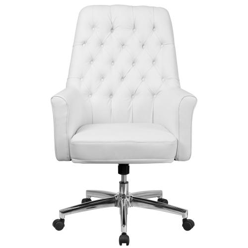 Alamont Furniture - Mid-Back Traditional Tufted White Leather Executive Swivel Chair with Arms