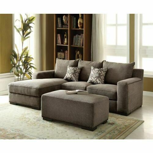 ACME Ushury Sectional Sofa w/2 Pillows - 53590 - Gray Chenille