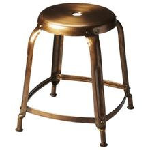 See Details - This bronze finished iron stool has a simple vintage design that looks amazing in modern spaces. It is sturdy, yet lightweight with a lightly distressed finish that will offer function and beauty to any space.