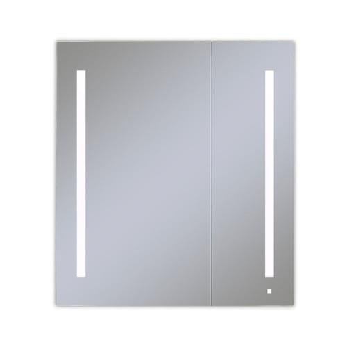 """Aio 35-1/4"""" X 40"""" X 4"""" Dual Door Lighted Cabinet With Large Door At Left With Lum LED Lighting In Bright White (4000k), Dimmable, Built-in Om Audio, Interior Lighting, Electrical Outlet, Usb Charging Ports and Magnetic Storage Strip"""