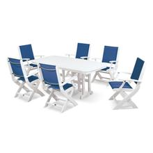 White & Royal Blue Coastal 7-Piece Dining Set