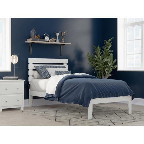 Atlantic Furniture - Oxford Twin Extra Long Bed with USB Turbo Charger in White