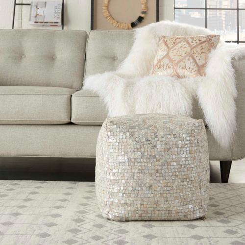 """Natural Leather Hide S2186 White/silver 16"""" X 16"""" X 16"""" Pouf"""