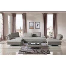 See Details - Divani Casa Baxter - Modern Grey Fabric Sectional Sofa + Coffee Table