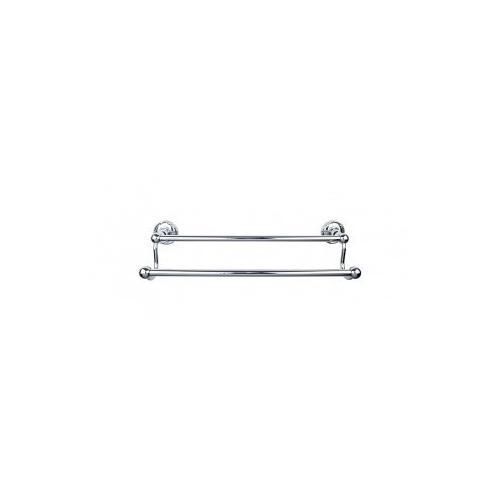 Edwardian Bath Towel Bar 18 Inch Double - Ribbon Bplate - Polished Chrome
