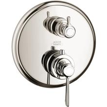 Polished Nickel Thermostat for concealed installation with lever landle and shut-off/ diverter valve