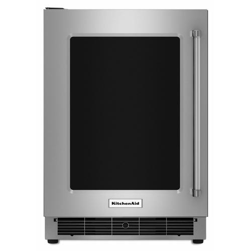 """Gallery - 24"""" Undercounter Refrigerator with Glass Door and Metal Trim Shelves - Stainless Steel"""