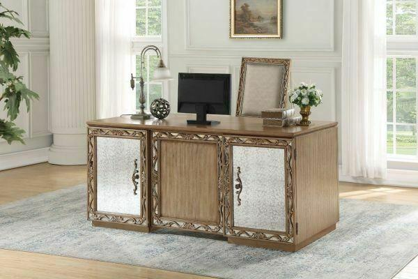 ACME Orianne Executive Desk - 91435 - Antique Gold